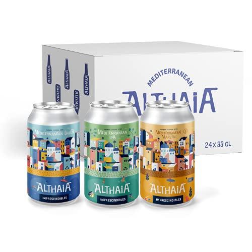 Pack de Imprescindibles - Cervezas Althaia - Caja 24 unidades - Cerveza artesana - Premiadas internacionalmente. Regalos especiales. Lata 33cl. Craft Beer