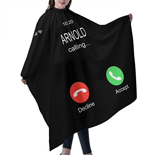 Zomsun Arn-Old Schwar-Zeneg-Ger Polyester Baber Cape, Reusable Haircut Cutting Hair Beard Hairdressing Capeh,Adjustable Snap Closure Apron Waterproof Salon Capes