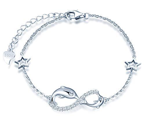 MicLee Damen Einfach Armband Zirkonia 925 Sterling Silber Allergenfrei Delphin Unendlichkeit Zeichen Zwei Sternen Armreif Armkette mit Geschenkbeutel Super Geschenk für Mutter Freundin