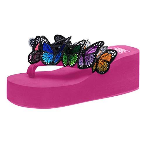 Dorical Hausschuhe Damen/Sommer Sandalen Keilabsatz mit Schmetterling Flip Fop Schwimmbadschuhe Sandaletten Outdoor Casual Badeschlappen rutschfest/Valentinstag Beach-Schuhe (Hotpink,38 EU)