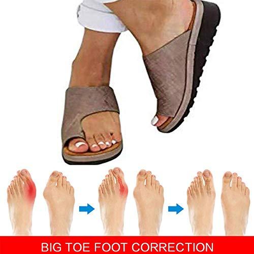 XQYPYL Damen Sommer Strand Reise Schuhe Big Toe Hallux Valgus Unterstützung Plattform Sandale Schuhe Für Bunion Correct,02,40