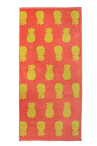 jilda-tex Strandtuch 90x180 cm Badetuch Strandlaken Handtuch 100% Baumwolle Velours Frottier Pflegeleicht (Pineapple Allover Coral)
