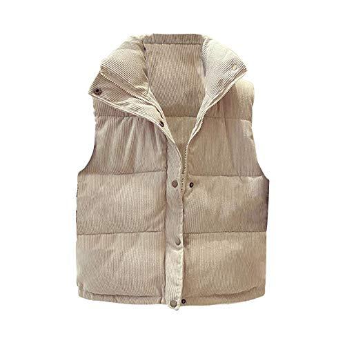 Damen Daunen-Weste Stepp-Jacke Waistcoat Frau Weste Gilet Jacke Mantel Outwear Solid Warm halten Tops (Beige,Beige)