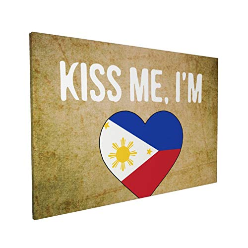 Canvas Wall Art with I'm Filipino Painting Print, 16' x 24' Pictures Paintings Artwork Framed for Living Room Home Decoration