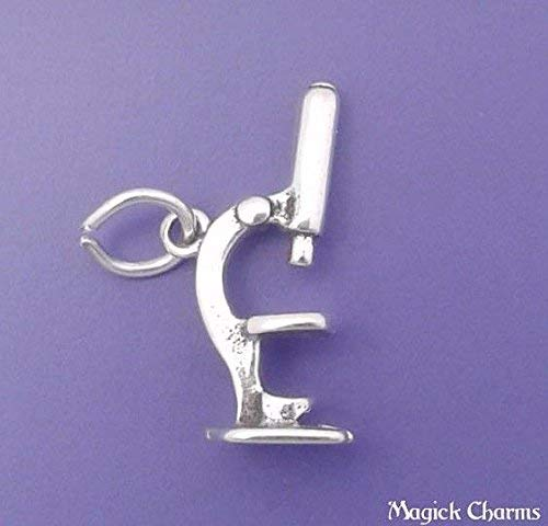 925 Sterling Silver 3-D Microscope Charm Science Lab Pendant Jewelry Making Supply, Pendant, Charms, Bracelet, DIY Crafting by Wholesale Charms