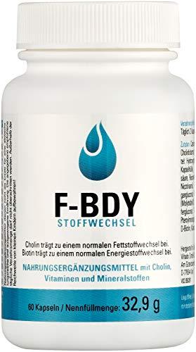 Vihado F-BDY Stoffwechsel – Kapseln für einen normalen Stoffwechsel mit Vitaminen und Mineralstoffen – normaler Kohlenhydrat-Stoffwechsel mit Zink und Fettstoffwechsel mit Cholin – 60 Kapseln