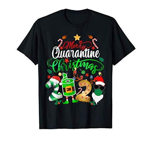 Merry Quarantine Christmas 2020 Elf Santa Claus Face Mask T-Shirt