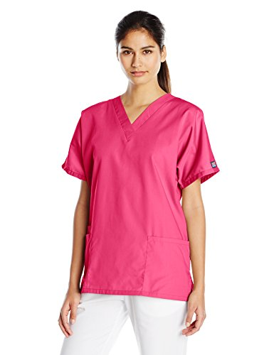 Cherokee Women's V Neck Scrubs Shirt, Shocking Pink, Small