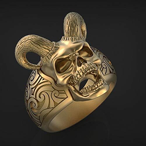 Cabeza de Oveja Gótica Cráneo Acorralado Material de Aleación Anillo, Baphomet Tribal fe Indígena Símbolos de Baphomet Cabra Satanás Demonio Joyería Hombres Mujeres,Oro,14
