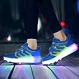 XRDSHY Zapatillas De Patinaje Luces LED Luminoso Ruedas Dobles Zapatos de Skate técnicos en línea Zapatos de polea para niños Unisex al Aire Libre,Blue-31