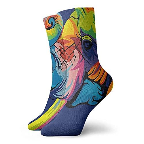 Fodmua Colorido elefante pintura mens atlético tripulación calcetines para hombres cojín casual deportes entrenamiento calcetín