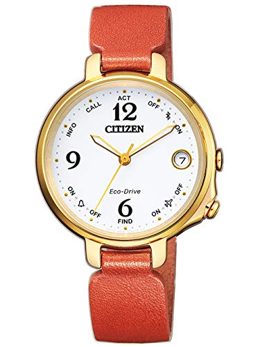 CITIZEN Damen Analog Eco-Drive Bluetooth Uhr mit Leder Armband Orange EE4012-10A