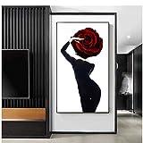 Resumen Sexy Busty Beauty Painting Vestido Negro Hot Girl Poster Print Tableaux Arte de Pared Grande para Sala de Estar Imagen de Entrada Grande -70x100cm Sin Marco