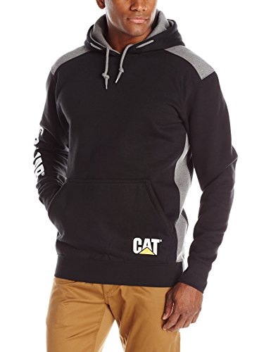 CAT183-BK-SML - Logo Panel Hooded Jumper Black - Sml - BLACK - S EU / UK