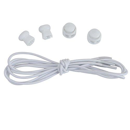 FALETO 5 Paare Elastische Schnürsenkel mit Schnellverschluss Schnellschnürsystem für einzigartigen Komfort, perfekten Sitz und starken Halt, Länge 100cm (Weiß)