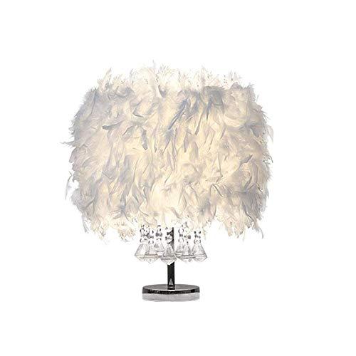 LEIKAS Lámpara de Mesa de Plumas, Pantalla Blanca para el vestíbulo del Dormitorio, luz de Cristal de la mesita de Noche Elegante Vintage, Estar Leyendo Sentado R
