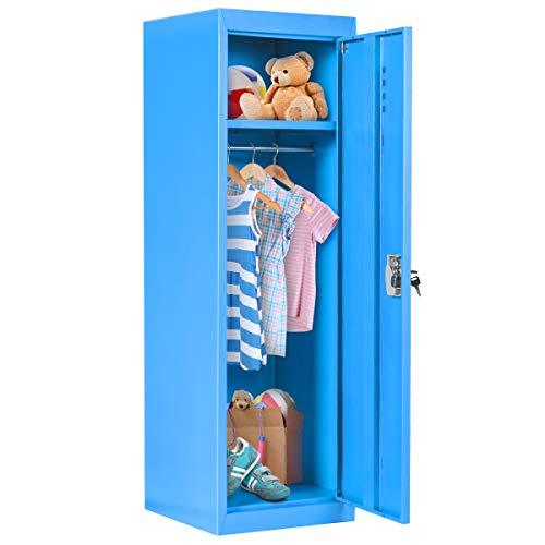 "Costzon 48"" Kids Metal Storage Locker, Single Tier Metal Locker, Anti-Rust, Moisture Proof, Mildewproof, Lock and Key Safe Storage for Home & School (Blue)"