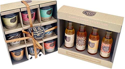 Kaffee-Geschenkset – verschiedene 9 aromatisierte Takeout-Tassen Auswahl + 4 Kaffeesirup Bundle
