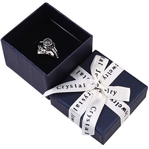 IMIKEYA 1 conjunto I Love You Ring 100 idiomas Anéis de Projeção Casal Joias Fashion com Caixa de Presente para Dia dos Namorados Casamento Casamento Rosa Dourado 5.5X5.5cm Prata