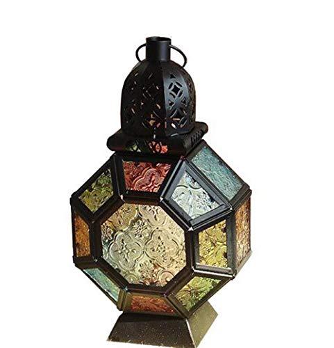 TooGet Lanterne de Style Marocain Portable en Verre Coupe-vent, à Suspendre en Fer Forgé, Bougeoir Coloré pour Fête, bar, Mariage, Maison