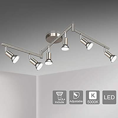 Unicozin LED 6 Light Track Lighting Kit, Matte Nickel 6 Way Ceiling Spot Lighting, Flexibly Rotatable Light Head, Modern Track Light Included 6 x LED GU10 Bulb (4W, Daylight White 5000K, 400LM)