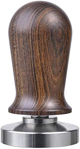 VIENESSO Profi Barista Tamper Set – Druckregulierend mit Anpressdruck von ca. 14kg durch integrierte Feder - Kaffee Stempel aus Edelstahl und Holzgriff inkl. Matte für optimales tampern (58 mm)