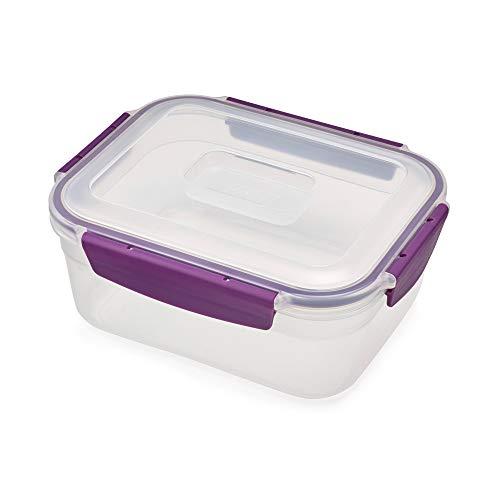Joseph Joseph 81093 Nest Lock Plastic Food Storage Container with Lockable Airtight Leakproof Lid, 63 oz, Purple