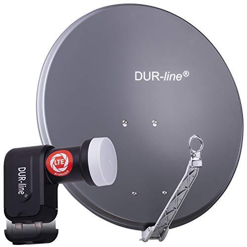 DUR-line 2 Teilnehmer Set - Qualitäts-Alu-Satelliten-Komplettanlage - Select 75cm/80cm Spiegel/Schüssel Anthrazit + Twin LNB - für 2 Receiver/TV [Neuste Technik, DVB-S2, 4K, 3D]