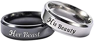 Znworld Couples Rings Engraved Her Beast His Beauty Matching Men Promise Ring Stainless Steel Valentine gift