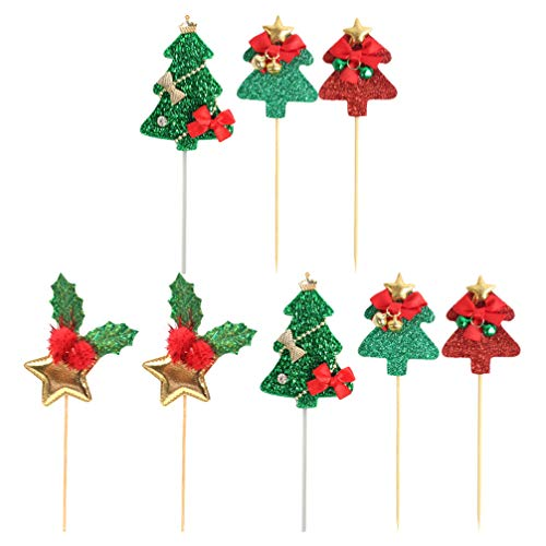 Amosfun 8pcs Christmas Tree Cupcake Toppers Glitter Star Pine Tree Cupcake Picks for Christmas Cake Decorations Party Supplies
