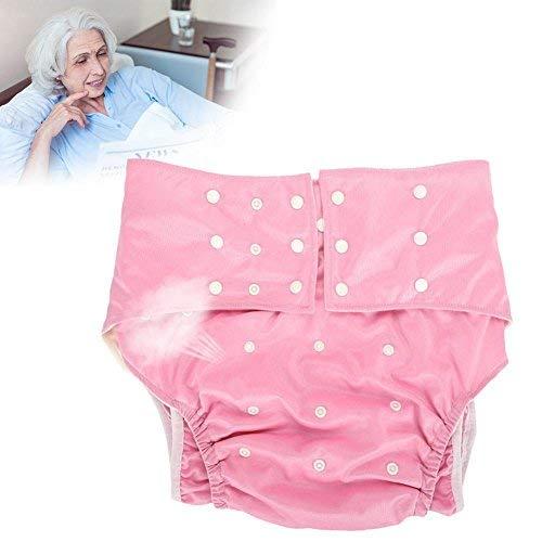 Wiederverwendbare Adult Windel, Waschbar Erwachsene Tasche Windelabdeckung eng Anliegende Einstellbare Windel Tuch für Inkontinenz Pflege Schützende Unterwäsche(Rosa)
