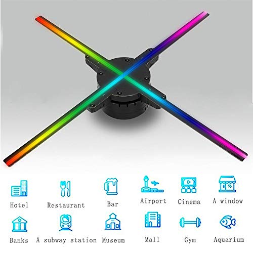 3D Hologram Fan Projector, Phone Projector, Portable HD Advertising Player Holographic Display Machine, WiFi Control 50CM 4axis 1600576 for Shop Bar Entertainment (US)