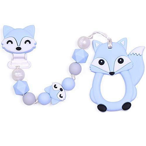 PREMYO Baby Schnullerkette Jungen Fuchs - Silikon-Perlen Bunt Eckig mit Clip - Universal mit Beißring Blau