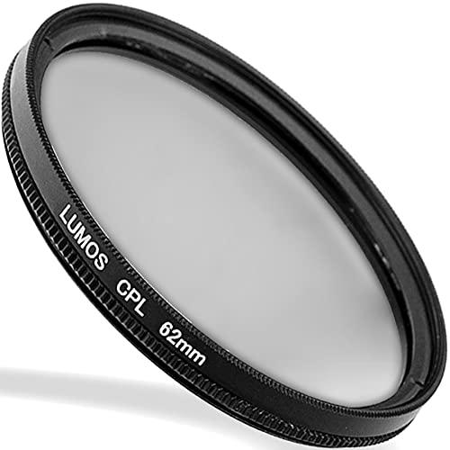 LUMOS Premium Polarisationsfilter - 62mm – Lichtdurchlässiges Glas – 2-teilige Metallfassung - Polfilter 62 mm– schlankes Slim Design