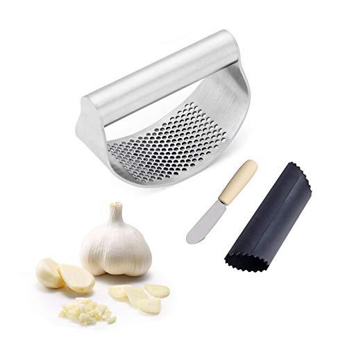 Garlic Press, Garlic Mincer, Stainless Steel Garlic Press Rocker Matching Garlic Peeler Roller and Scraper, Garlic Crusher Rocking Garlic Press of Kitchen Gadgets(3 PCS)