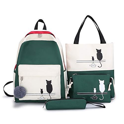 Zaini da donna, mini zaini 4 pz/set pannelli donna zaino tela modello gatto borsa di scuola per ragazza patchwork zaino femminile borsa a tracolla, Verde (Verde) - YICHENHAOYUAN 2