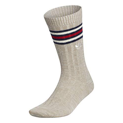 adidas Originals Calcetines para hombre vintage acanalados (1 par), Hombre, Calcetines, EV8984, Trace Khaki - Pluma Gris - Crema Blanco Space Dye/ Co, L