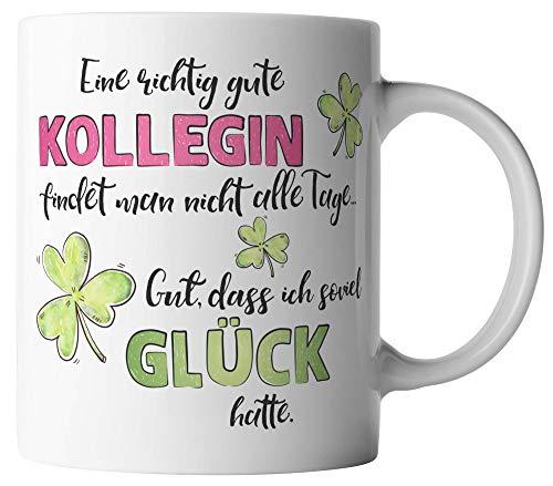 vanVerden Tasse - Eine richtig gute Kollegin findet man nicht alle Tage. Gut, dass ich soviel Glück hatte. - beidseitig Bedruckt - Geschenk Idee Kaffeetassen, Tassenfarbe:Weiß