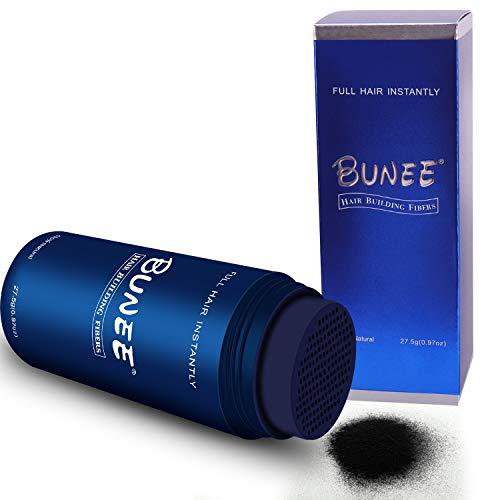 BUNEE Streuhaar & Schütthaar zur Haarverdichtung & vollem Haar in Sekunden. Hair fibers & Ansatzkaschierung. Schütthaar für einen authentischen Look. 100% Natur - 27.5g (Schwarz)