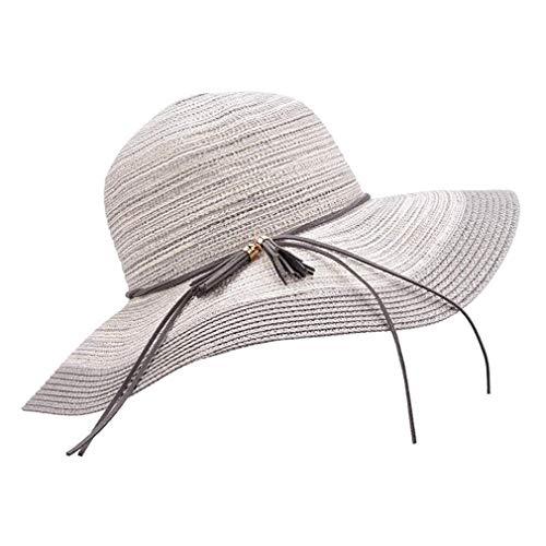 CHUTD Dames Zonnehoeden Vrouwen UV Bescherming Floppy Brede Rieten Hoed Opvouwbare Reizen Zomer Strand Vakantie Cap Outdoor Visor Hoed - Verstelbare 52-58CM,F