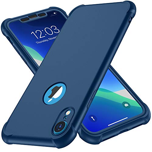 ORETECH Designed for iPhone XR Case, with[2 x Tempered Glass Screen Protector] 360 Full Body Shockproof Anti Scratch Protection Cover Hard PC Soft Rubber Silicone Case for iPhone XR 6.1   2018 Blue