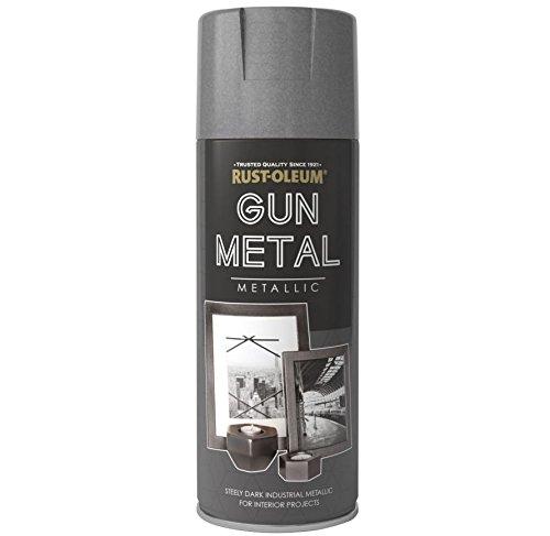 Rust-Oleum Multi-Purpose Aerosol Spray Paint 400ml Metallic Gun Metal Grey (2 Pack)