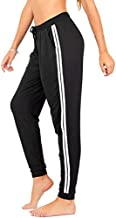 DEAR SPARKLE Workout Jogger for Women Stripe Side Drawstring Lightweight Joggers Yoga Lounge Sweatpants + Plus (P7 R) (Black, X-Large)