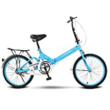 ZDXC Vélos Pliants, Mini Vélo D'étudiant Portable de 16 Pouces / 20 Pouces pour Hommes Femmes Vélo Occasionnel Léger, Double Amortissement des Freins, Absorption des Chocs