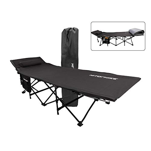 HITORHIKE Camping Cot with Cot Pad Compact Folding Cot Bed for Outdoor Backpacking Camping Cot Bed High-Profile Compact Bed with Carry Bag