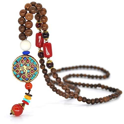 Lilloubella Collar de yoga de madera natural tibetana Mala Monk Monje budista Meditación Creación hecha a mano Collar de protección espiritual para mujeres y hombres