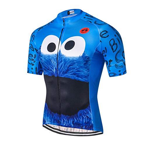 Weimostar Radtrikot Männer Fahrrad Top Kurzarm MTB Shirt Reißverschluss Mountain Road Kleidung Fahrradkleidung Summer Pro Team Sport Reiten Rennrad Trikot atmungsaktiv blau L.