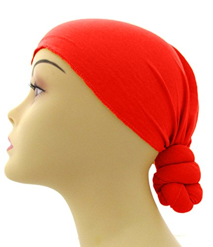 Pre-Tied Knotted Head Wrap Scarf (Red)