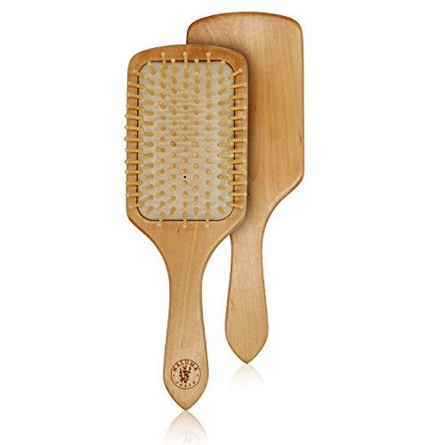 Nachhaltige Haarbürste aus Holz mit Naturborsten | 100% natürlich & umweltfreundliche Bürste, antistatisch, plastikfrei & vegan, für alle Haartypen, 9-reihig