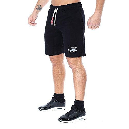 SMILODOX Herren Shorts 'Basic' | Kurze Hosen für Sport Fitness Gym Training & Freizeit | Jogginghose - Freizeithose - Trainingshose - Sweatpants Jogger - Sporthose Kurz, Farbe:Schwarz, Größe:S